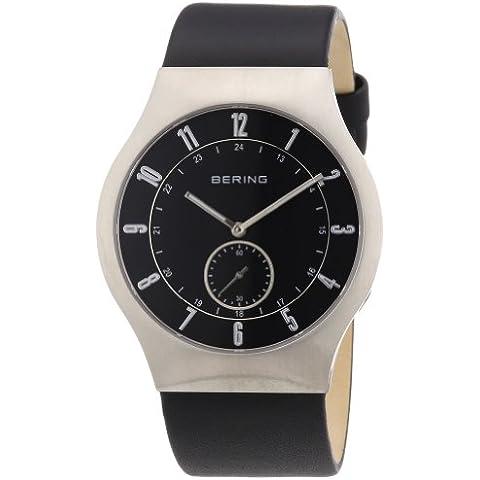 Bering Time Radio-Controlled 51940-402 - Reloj analógico de cuarzo para hombre, correa de cuero color negro