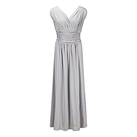 Beauty7 Classique & Elegant Grand Taille Robe Plisee Taille Empire Cache-coeur Casual Cocktail Mariage Soiree Sexy