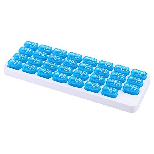 OUNONA Pillen-Organisator-Kasten-EIN Monatsdeckel-Medizin-Tabletten-Speicher-Zufuhr 31 Tag für Reise täglicher Gebrauch