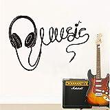 Die besten Startseite Kopfhörer - Mddrr Große Größe Musik Kopfhörer Silhouette Wandaufkleber Dekoration Bewertungen