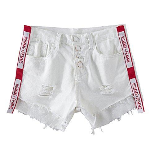FLY 2017 Neue Frauen Des Sommers Jeans-Shorts Weiß Bandrand Trepanationsloch Hohe Taille War Dünn Brief Kurze Hosen White