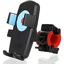 Titular / vehículos Telefonía moto, eForHome universal bicicleta de ciclo del soporte para motocicleta abrazadera del manillar para el iPhone 6s Plus / Samsung Galaxy / Google Nexus GPS del teléfono, con un solo botón de bloqueo, de 360 ??grados giratoria, 2 * correa de caucho -Blue