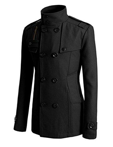 LOBTY Herren Winterjacke Männer Herren Jungen Langarm Cabanjacke Reverskragen Trenchcoat Mantel Kurzmantel Jack Anzug Schwarz