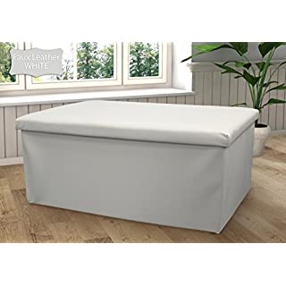 Ashley Mills New Large Ottoman Foldaway Storage Blanket Toy Box Bench Faux Leather White 76x38cms