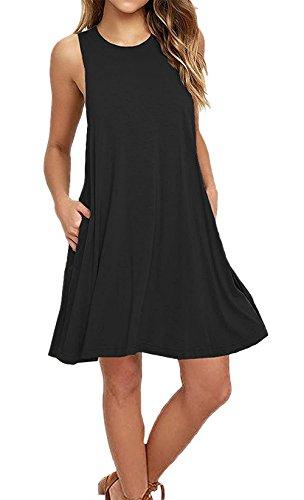 keerda Damen Casual Sommerkleid Trägerkleid Lose T-Shirt Kleid knielang Strandkleid A-Linie Kleider (XXL, Schwarz) (Damen Hand T-shirt Schnitt)