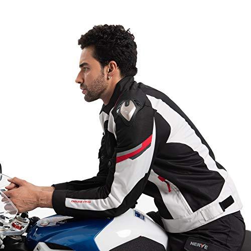 Nerve Shop Leichte DünneMesh Motorradjacke -Latitude-RollerMotorrad Jacke Herren Kurze Textil MännerProtektorenjacke Sommerjacke Luftdurchlässig - schwarz-weiß - M Mesh-herren Jacke