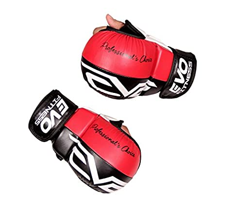 EVO Maya Hide Leather MMA Grappling Gloves UFC Cage Fighting Sparring Glove Training (Black & Red,