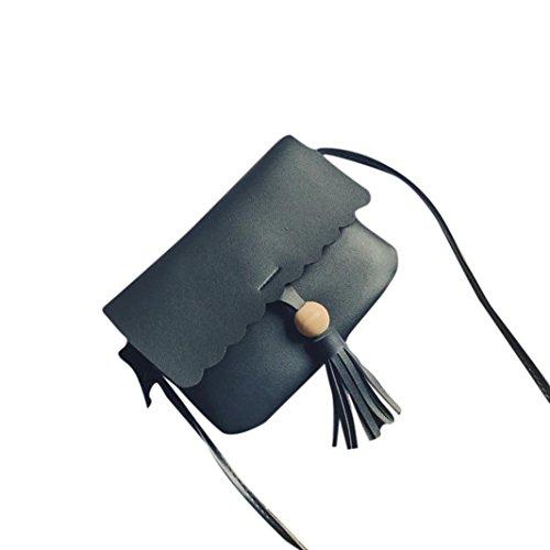 Longra Donne solide colore HASP frange borsa spalla borse Nero