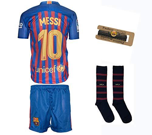 Barcelona Messi #10 2018/19 Heim Trikot und Shorts mit Socken und Wickel Armband Kinder und Jugend Größe