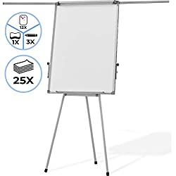 Chevalet de Conférence - avec Trépied Réglable en Hauteur, 60 x 90 cm, 2 Bras Extensibles, Magnétique, Effaçable, Incluant Marqueurs, Aimants, Papiers, Éponge - Paperboard, Tableau Magnétique