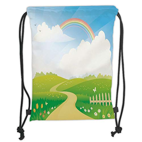 Fashion Printed Drawstring Backpacks Bags,Rainbow,Landscape Image Green Hills Road and Rainbow Nature Flowers Love Earth Decorative,Lime Green Multicolor Soft Satin,5 Liter Capacity,Adjustable Str