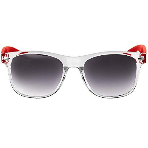 CASPAR SG017 Lunettes de soleil WAYFARER UNISEXE avec monture transparente - plusieurs coloris rouge/teinte noir