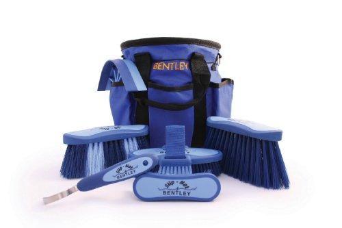 Bentley - Set di spazzole antiscivolo per la cura del cavallo - con borsa - blu