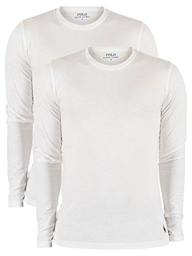 Polo Ralph Lauren Herren 2er-Pack Longsleeved Stretch Cotton T-Shirt, Weiß, X-Large (Unterhemd Lauren)