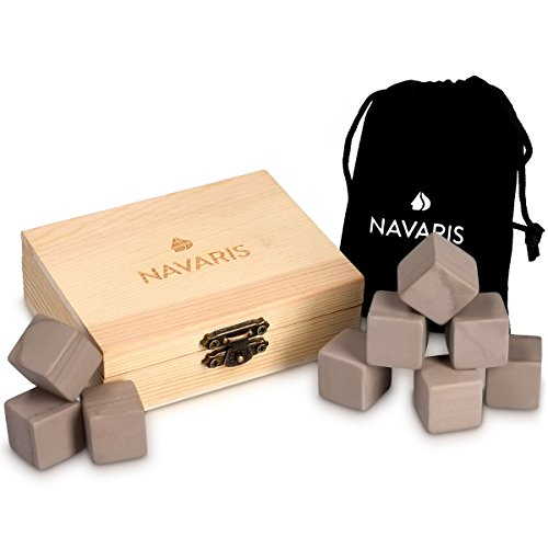 Navaris Set de 9 cubos de granito para whisky - Piedras para enfriar licores con bolsa de terciopelo - Cubitos enfriadores de bebidas - Whisky Stones