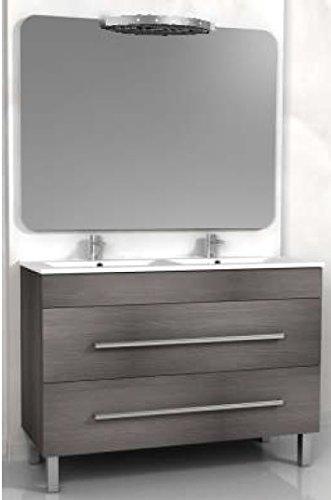 Mobile Arredo Bagno doppio lavabo cm 120 bianco o wengè grigio ...