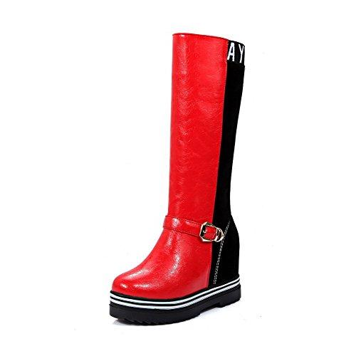 VogueZone009 Damen Hoher Absatz Mitte-Spitze Rund Zehe Blend-Materialien Stiefel Rot