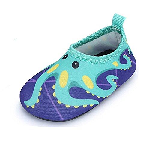 JACKSHIBO Jungen Mädchen Strandschuhe Schwimmschuhe Aqua Schuhe Unisex-Kinder Surfschuhe Badeschuhe, Kinder XS(EU 24-25)=140-150MM, Farbe: Blau/1