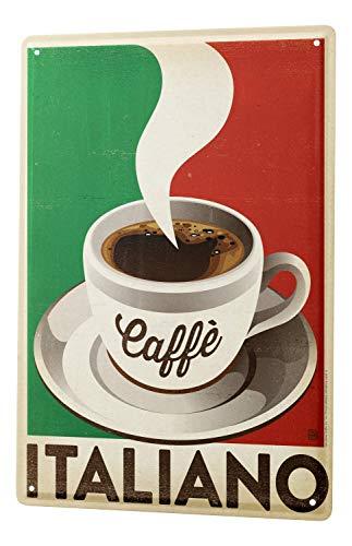 Blechschild Kaffee Cafe Bar Kaffee Italien Wand Deko Schild 20X30 cm (Kaffee Italien)