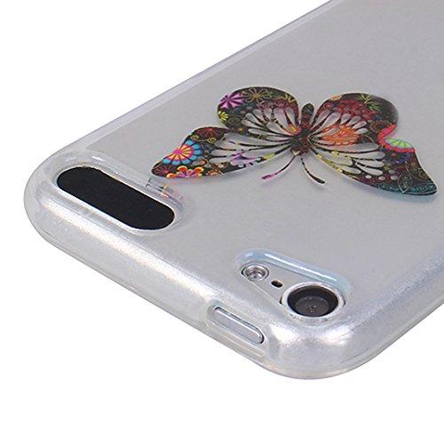 2 x iPod Touch 6 Schutzhülle, iPod Touch 5 Transparent Case, Rosa Schleife Ultra Dünn TPU Silikon Soft Backcover mit Bunte Muster Design Klar Handyhülle Bumper Schale für iPod Touch 5 / 6 2 Packs 1