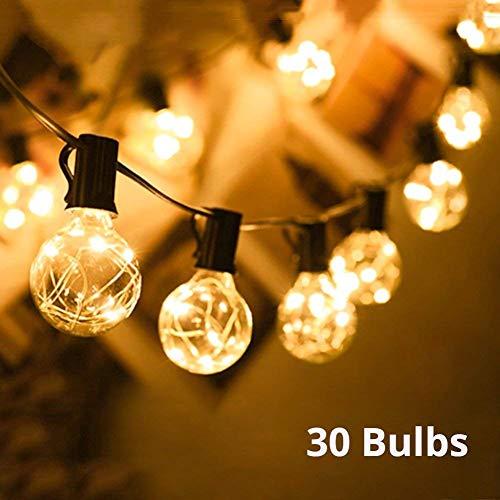 Lichterkette außen G40 Warmweiß Globus Schnur Licht Party Lichterkette 30 Bulbs 10M Deko Lampe Lichtschnur IP44 Wasserdicht Außen/Innen für Garten, Hochzeit,Grill, Weihnachten, Biergarten,Feier, Fest