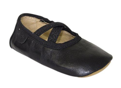 Move by Melton  Prewalker Ballerina w. elastic Lauflernschuh Mädchen, Chaussures premiers pas pour bébé (fille) Noir - Schwarz (Black190)