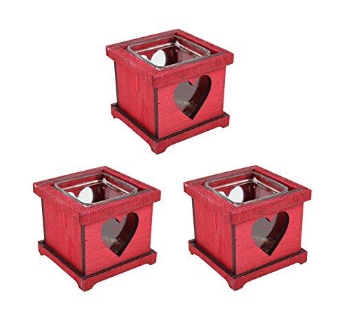 Teelichthalter mit Herz 3 Stück rot