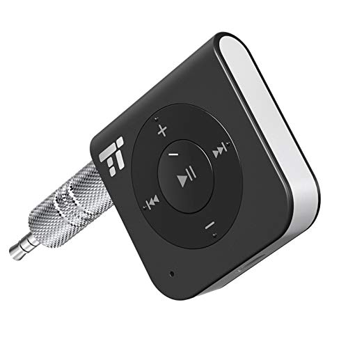 Bluetooth Adapter Empfänger ,TaoTronics Bluetooth Receiver 4.1 Audio Adapter 15 Stunden für KFZ Auto Lautsprecher, 3.5 mm AUX, Verbessertes eingebautes Mikrofon, A2DP, CVC Rauschunterdrückung - Receiver Aux Bluetooth Car For