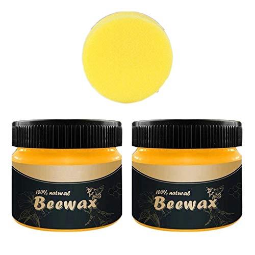 Tomatoa Bienenwachspolitur Möbelpflege Bienenwachs Natürliche wasserdicht abriebfestes Wachs für Holz & Möbel Poliermittel Reinigungsmittel 2pcs
