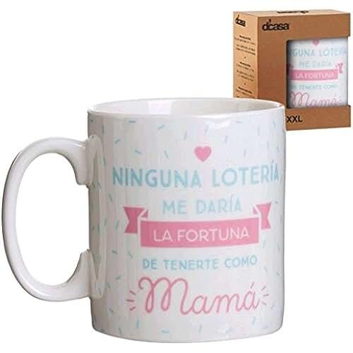 taza del dia de la madre Lama Mug XXL Mama Lotería, Cerámica, Blanco, 13x10x12 cm