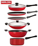 #4: Nirlon Non-Stick Aluminium Cookware Set, 6-Pieces, Red/Black (FT12CTFP12KD12SPBCH)