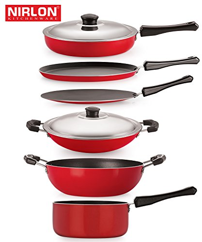 The Nirlon Nonstick 6-Piece Cookware Set Includes All The Essentials For Everyday Cooking - Flat Tawa 27.5 cm , Roti Tawa 28.5 cm , Fry Pan With Stainless Steel Lid 2 Liter , Kadai 1.5 Liter , Sauce Pan Big 1.8 Liter , Appa Chatti 22 cm