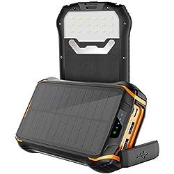 Chargeur Solaire Imperméable Portable Power Bank 26800mAh, Soluser Imperméable Batterie Externe Solaire avec 3 3.1A Sortie USB et LED lumière d'urgence pour Les Activités de Plein Air
