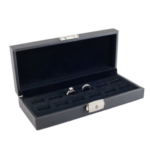 Caddy Bay Collection Wide Slot Jewelry Ring Display Storage Case with Lock, Holds 12 Rings