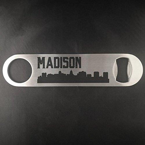 Madison Wisconsin Skyline Edelstahl Heavy Duty Flat Bar Schlüssel Bier Lasergravur Flaschenöffner (Green Bay Transfer)