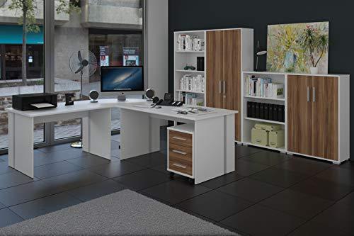 Büromöbel Set - Komplettes Arbeitszimmer in Walnuß Dekor, 8 - teilig