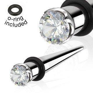 6 millimetri trasparente Prong Set di cristallo conico in acciaio chirurgico con O dell'anello di orecchio barella Piercing