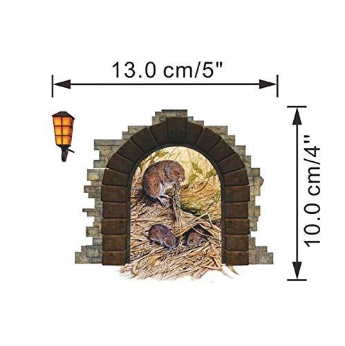 Vazan - Lustige Mauseloch Aufkleber Wand Eckdekoration Kinder Geschenk DIY adesivo de Paredes Comic-Tiere Abziehbild Wandmalerei 4.0 [Schwarz 4pc] (Erwachsenen-schlafzimmer-wand-abziehbilder)