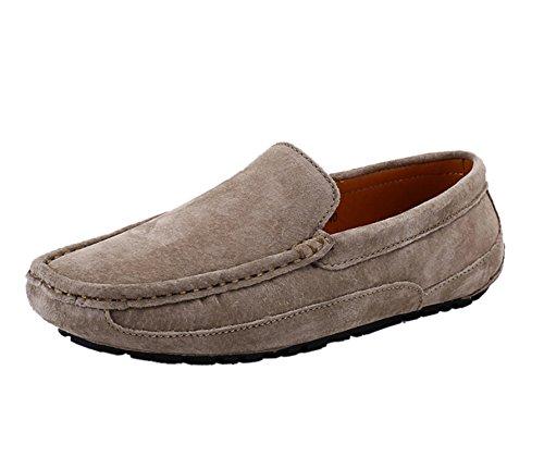 Icegrey Hommes Mocassins Cuir Suedé Loafers Casual Bateau Chaussures de Ville Flats Kaki
