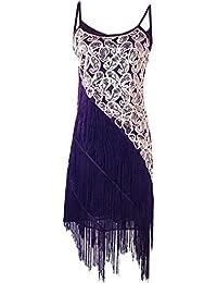 Prettyguide Mujeres 1920 Arte Deco Paisley de lentejuelas Borla Vestido de fiesta de Gatsby
