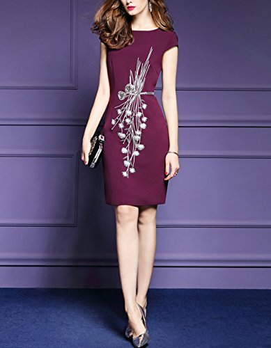 LAI MENG Premium Damen Flügelärmel Wickelkleid mit Verzierungen Elegant Kleid Rundhals Cocktailkleid Sommerkleider Partykleider Abendkleid Dunkelrot