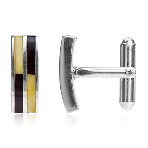 Ambre Multicolore Argent Sterling Rectangulaire Boutons de Manchettes