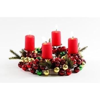 Amazon.de: Weihnachtskranz für Kerzen rot/grün/gold 30cm