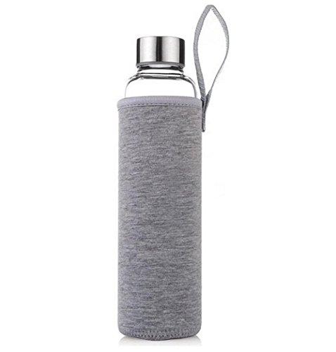 5ebeffe9d83 Botella de vidrio botella deportiva botella transparente con bolsa de nylon  protectora 550ml