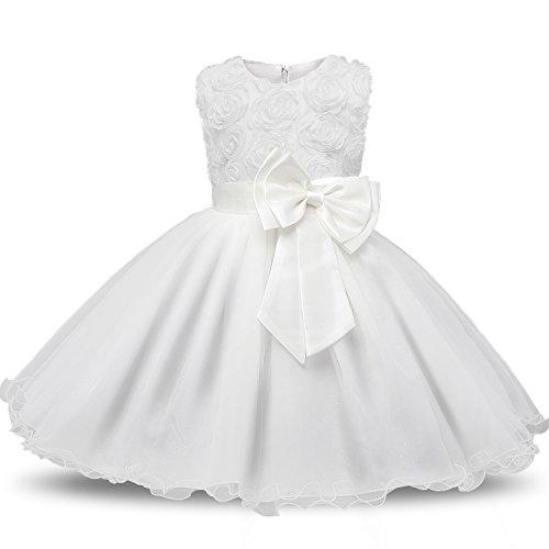 NNJXD Ragazza Gonna Fiori Pizzo 3D Senza Maniche Vestito da Principessa delle Feste Taglia 4 5 Anni Bianca