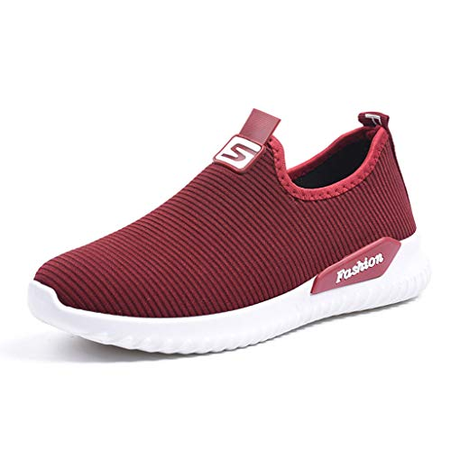 beiläufige Müßiggänger-Turnschuhe Flats Breathable Stretch Cloth Shoes(38,Rouge) ()