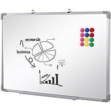 SwanSea oficina pizarra blanca magnética con pen tray y 12 Magnetes 60x45cm