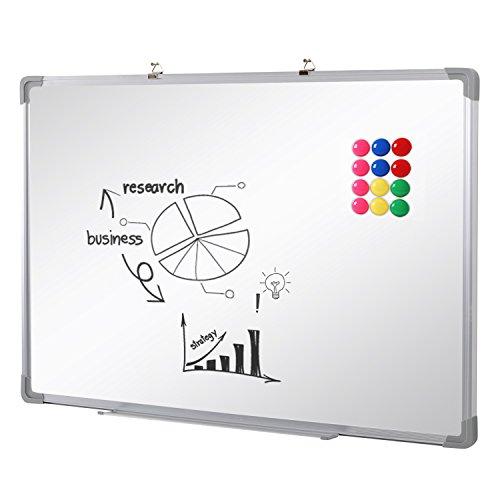 SwanSea Tableau Blanc Magnétique effaçable à sec pour école à la maison de bureau avec 12 Magnètes 90x60cm