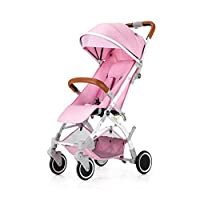 Xiao ping Baby stroller ultra light portable folding can be on the plane mini child pocket umbrella baby stroller baby carriage ( Color : Pink )