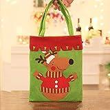 JUNMAONO 1 Stück Kinder Weihnachtsdekoration Liefert Candy Stofftasche Tragetaschen Weihnachten Tragbar Apfelbeutel Aufbewahrungstasche Handtasche Weihnachts Dekoration (Elch)